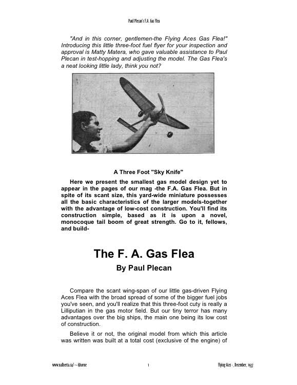 Gas Flea model airplane plan